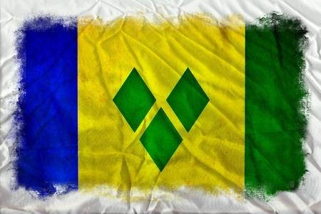 grenadines: Saint Vincent Grenadines grunge flag