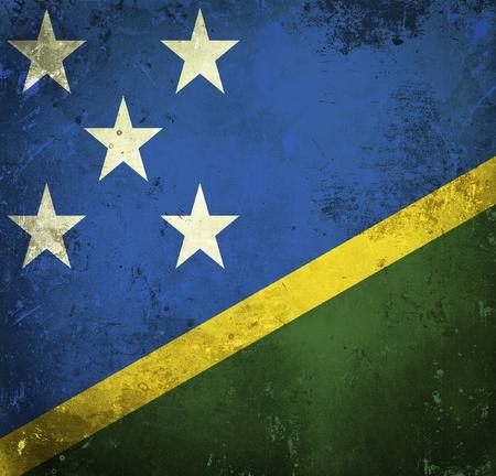 solomon: Grunge flag of Solomon Islands Stock Photo