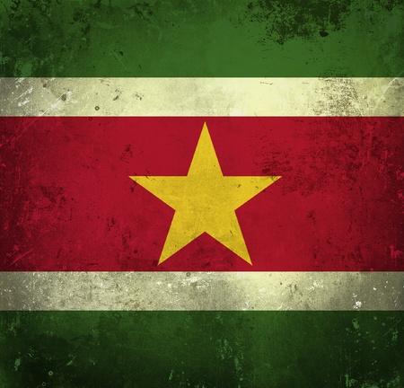 suriname: Grunge vlag van Suriname