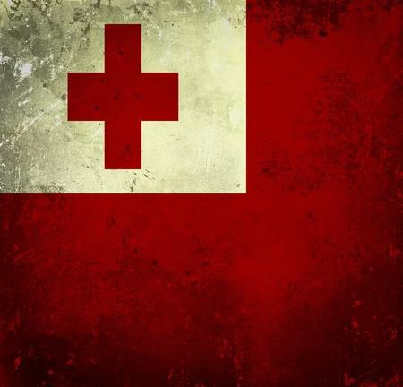 tonga: Grunge flag of Tonga Stock Photo