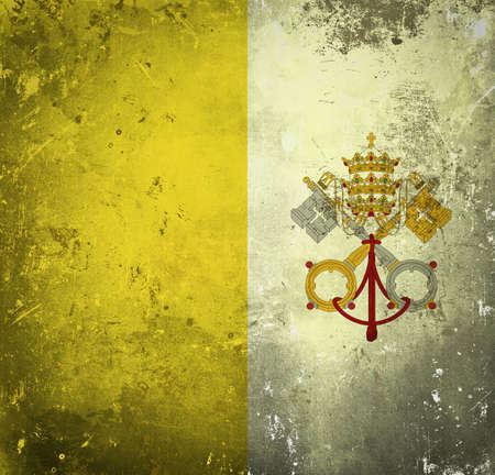 ciudad del vaticano: Grunge bandera de la Ciudad del Vaticano Foto de archivo