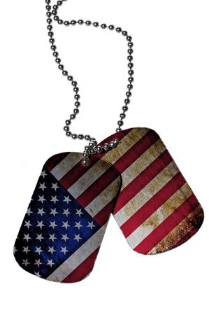 american hero: ID tags with USA flag