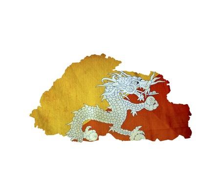bhutan: Map of Bhutan isolated