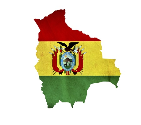 bandera bolivia: Mapa de Bolivia aislado Foto de archivo