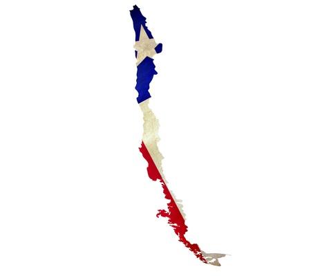 bandera de chile: Mapa de Chile aislado Foto de archivo
