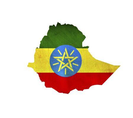 ethiopia flag: Map of Ethiopia isolated