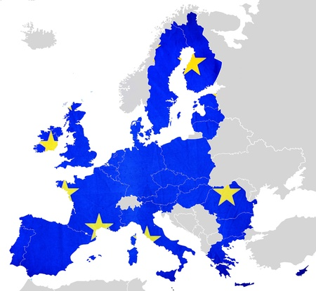 Map of European Union countries isolated photo