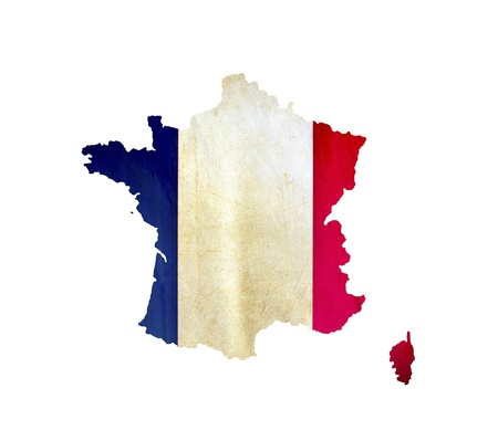 national colors: Map of France isolated Stock Photo
