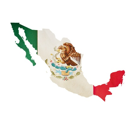 mexico: Map of Mexico isolated Stock Photo