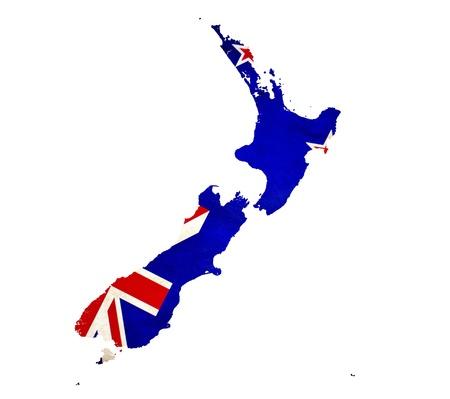 flag of new zealand: Map of New Zealand isolated