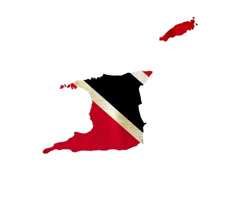 national flag trinidad and tobago: Map of Trinidad and Tobago isolated