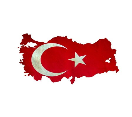 turkish flag: Map of Turkey isolated