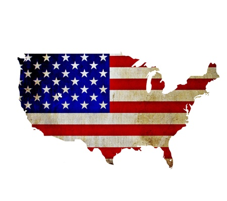 silhouette america: Map of United States of America isolated