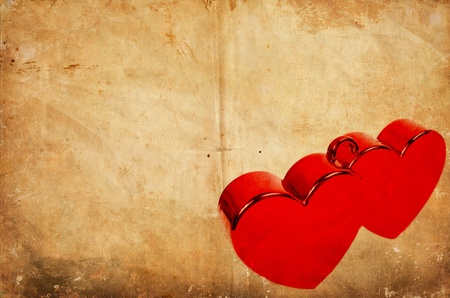 Two hearts on vintage grunge background - Happy Valentines Day conceptual image photo