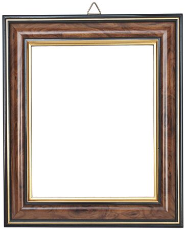 Vintage wooden photo frame isolated on white photo