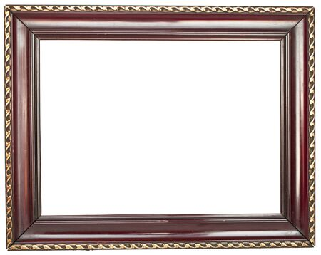 Empty antique wood frame isolated on white background photo