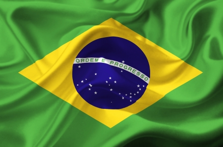 brazil symbol: Brazil waving flag Stock Photo