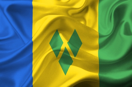 grenadines: Saint Vincent and the Grenadines waving flag