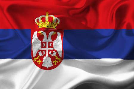 serbia flag: Serbia waving flag Stock Photo