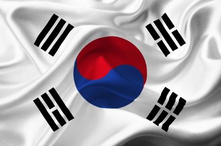 south korea flag: South Korea waving flag Stock Photo