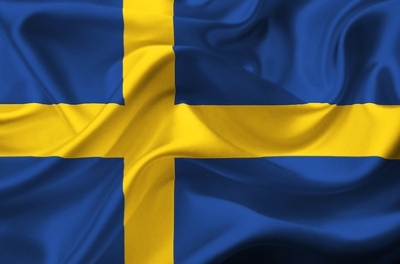 sweden flag: Sweden waving flag