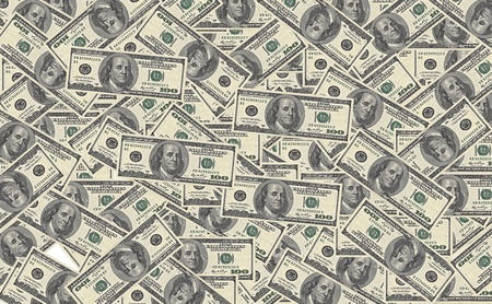 signos de pesos: 100 billetes de d�lar de fondo Foto de archivo