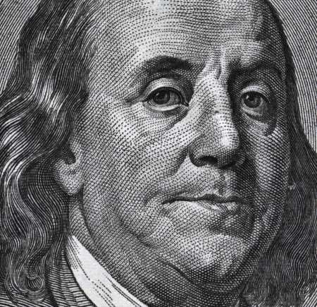 ben franklin: Extreme macro of 100 dollar bill with Benjamin Franklin portrait Stock Photo
