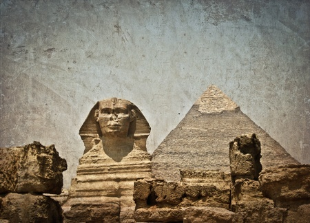 Vintage image of Sphynx and Cheops pyramid photo