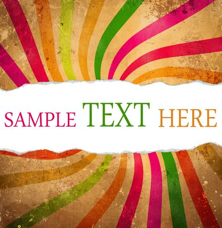 full frame: Multicolored retro background with teared corner for your text space Stock Photo