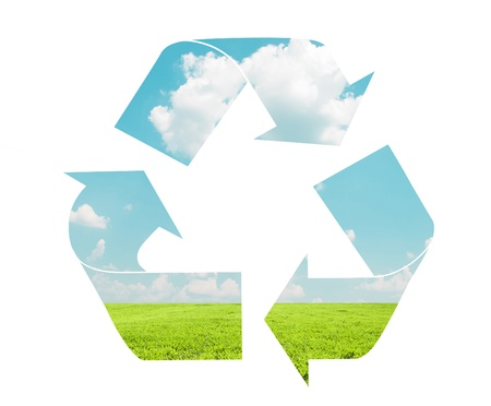 Recycle sign with landscape pattern - Eco concept photo