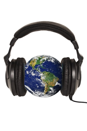 Planet Earth with headphones - World music concept  photo