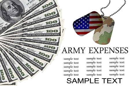 Army expenses conceptual image with ID Tags and US dollars photo