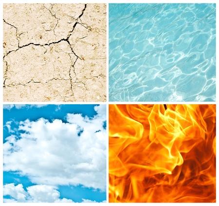 fuego azul: Cuatro elementos de la naturaleza del collage