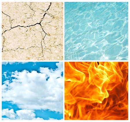 fire symbol: Four nature elements collage