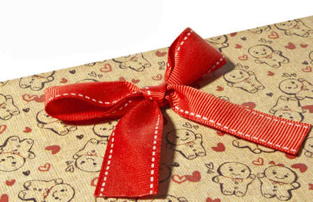 Gift box with red bow and space for your text