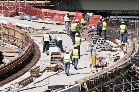 on site: Workers on construction site
