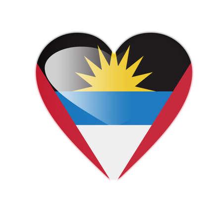 antigua: Antigua and Barbuda 3D heart shaped flag Stock Photo