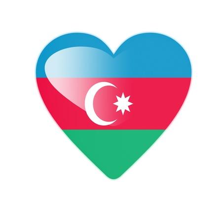 azerbaijan: Azerbaijan 3D heart shaped flag