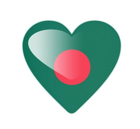 bangladesh 3d: Bangladesh 3D heart shaped flag