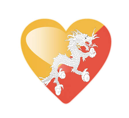 Bhutan 3D heart shaped flag Stock Photo - 13245817