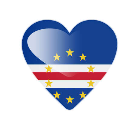 cape verde: Cape Verde 3D heart shaped flag