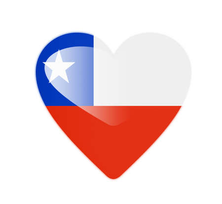 Flag of Chile Chile 3D heart shaped flag photo