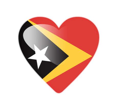 East Timor 3D heart shaped flag photo