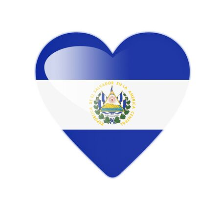 el salvador: El Salvador 3D heart shaped flag Stock Photo
