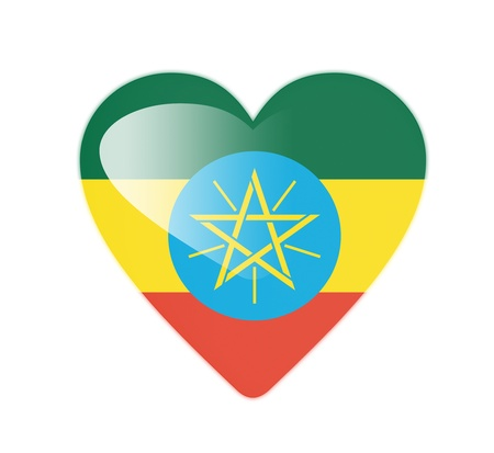 Ethiopia 3D heart shaped flag photo