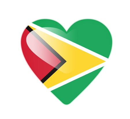Guyana 3D heart shaped flag photo