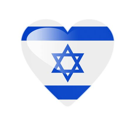 Israel 3D heart shaped flag photo