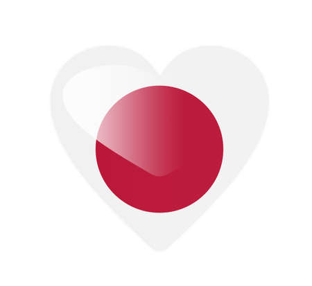 Japan 3D heart shaped flag photo