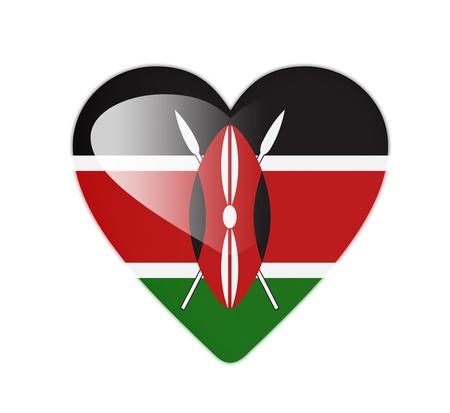 Kenya 3D heart shaped flag photo