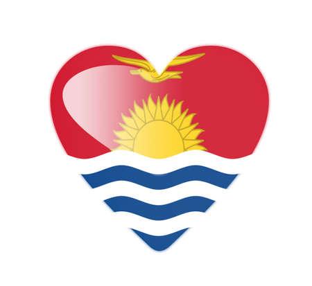 kiribati: Kiribati 3D heart shaped flag Stock Photo